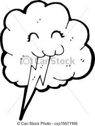 Clip Art Vector Of Cute Cloud With Lightning Bolt Csp15571165