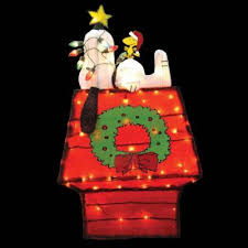 snoopy doghouse christmas decoration 42 in pre lit 3d tinsel snoopy on dog house with