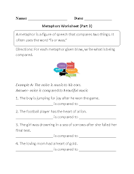metaphor worksheets metaphors and similes explain the meaning