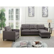 Gray Fabric Sectional Sofa Acme Furniture Ceasar Sectional Sofa Revisable Ottoman Gray