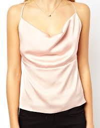 Draped Neckline Tops Replay Asos Satin Cami With Drape Cowl Neck And Back In Pink Lyst