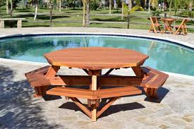 octagon picnic table wood picnic table with attached bench