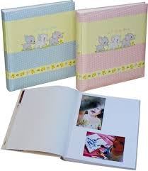 Paper Photo Albums Pink U0026 Blue Baby Photo Albums With White Pages The Photo Album Shop