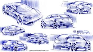 car design and my life blue pen sketches