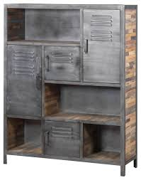 Metal Bookcase Industrial Metal And Recycled Wood Bookcase Industrial