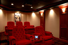 luxury home theater with grand seating and artistic design