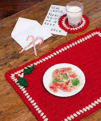 holiday placemat set crochet pattern red heart