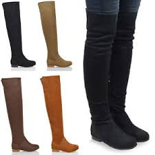 s boots flat womens the knee high flat faux suede thigh high