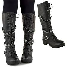 ladies brown biker boots ladies womens knee high mid calf lace up biker punk military combat