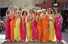themes indian girl colour theme bridesmaid saree bridesmaids pinterest