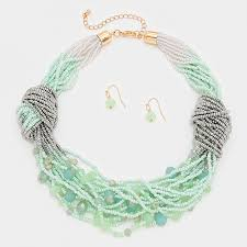 beaded statement necklace images Twisted seafoam beaded multi strand clustered statement necklace jpg