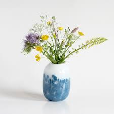 flora glass vase blue u2013 crowdyhouse