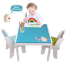 amazon childrens table and chairs amazon com labebe wooden activity table chair set blue hedgehog