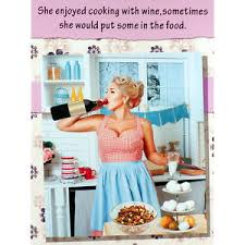 funny birthday card she enjoyed cooking with wine rude