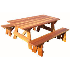 picnic table with separate benches outdoor 1905 super deck finished 6 ft redwood picnic table with