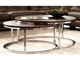 round nesting coffee table round nesting coffee table new mergot modern chrome 2 piece cocktail
