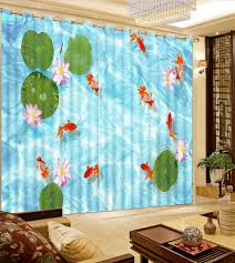 online get cheap curtains decor aliexpress com alibaba group 3d curtains fashion decor home decoration for bedroom lotus pond goldfish photo customize size curtain decoration