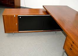 Executive Desk And Credenza Walnut Excutive Desk With Credenza Return By George Nelson For