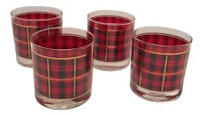 vintage crowning touch red plaid scotch lowball glasses set of 4