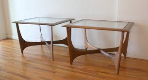 lane mid century modern coffee table glass top picked vintage