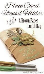 brown paper bag place card and napkin holder napkin holders