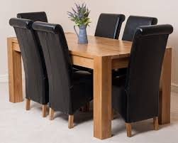 Black Leather Chairs And Dining Table Kuba Solid Oak Dining Table With 6 Or 8 Montana Chairs Available