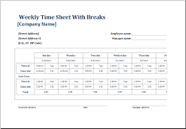 employee weekly time sheets with and without breaks excel templates