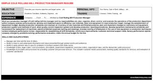 cold rolling mill production manager cover letter u0026 resume