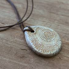necklace pendant wholesale images Teardrop ancient stone grey mandala essential oil diffuser jpg