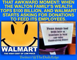 give generously so the walmart employees working on