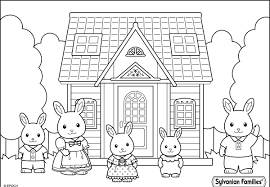 sylvanian family near the house coloring pages for kids print or