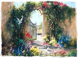 other garden gate flowers doves marty bell painting scenery