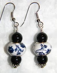 spacer earrings 11226 black pearl w beautiful blue white ceramic handmade spacer