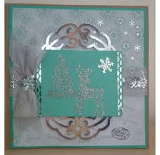 handmade sparkly christmas card using free stamps and papers from