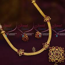 gold necklace simple design images Nl12153 matte gold simple design ruby attiga traditional south JPG