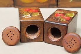 country kitchen wood box canisters w hand painted fruit tole