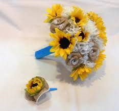 Sunflower Wedding Bouquet Wedding Bouquet Bridal Bouquet Fabric Bouquet Burlap Bouquet