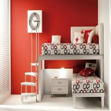red and white girls bedroom space saving bedroom ideas for