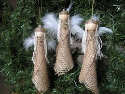 christmas ornament burlap angel set of 3 navidad wings and