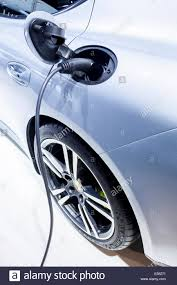 electric porsche panamera electric car charging with a charging cable hybrid vehicle