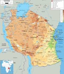 Map Of Uganda Physical Map Of Tanzania Ezilon Maps