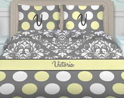 Grey And Yellow Comforters Yellow Bedding Etsy