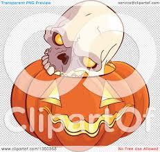 halloween skull transparent background clipart of a skull on a carved halloween jackolantern pumpkin