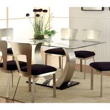 glass top dining room table furniture of america sculpture ii contemporary glass top dining