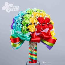 wedding flowers gift rainbow brooch wedding bouquet luxury colorful satin bridal