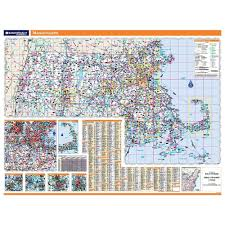 Massachusetts Counties Map by Massachusetts Laminated State Wall Map