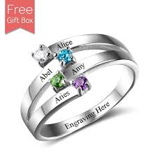 silver mothers ring personalized mothers ring in silver four rsnamenecklace