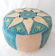 Leather Moroccan Ottoman by Leather Ottoman Turquoise U0026 Natural Genuine Moroccan