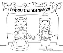 Happy Thanksgiving Pilgrims Thanksgiving Coloring Pages