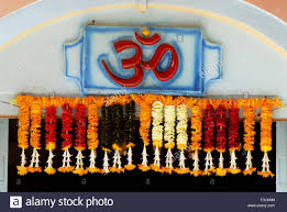 hindu garland om color cosmic creation holy word hindu garland flowers shri